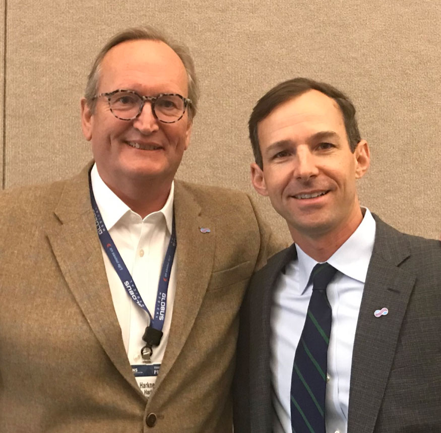 William and Jim at the AANS in San Diego. Note the smart lapel pins!!